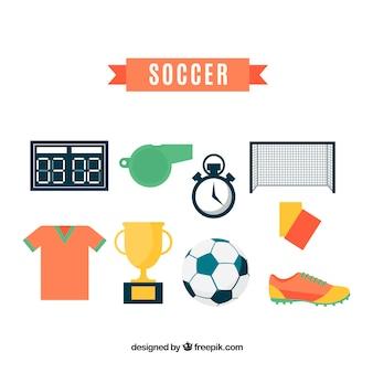 Fußballelementansammlung mit ausrüstung in der flachen art