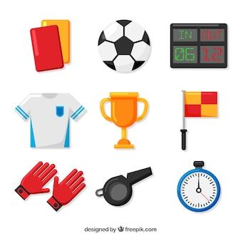 Fußballelemente sammlung mit ausrüstung