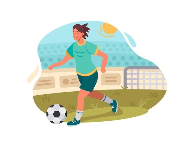 Fußballer spielt fußball. spieler mit ball auf grünem feld. vektorillustration