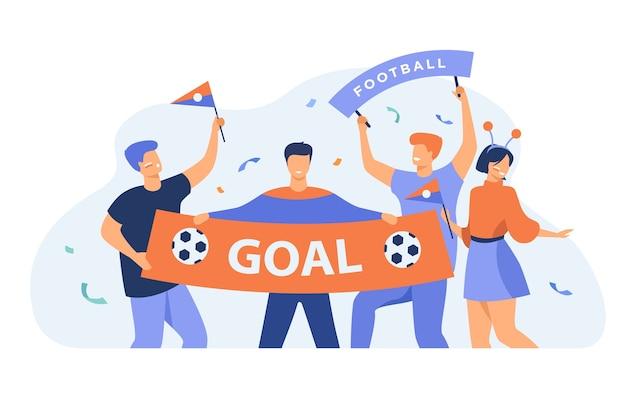 Fußballfans im freien, die großes banner mit der isolierten flachen vektorillustration des ziels halten. karikaturgruppe der aktiven leute, die fußballmannschaft anfeuern. sportspiel- und feierkonzept