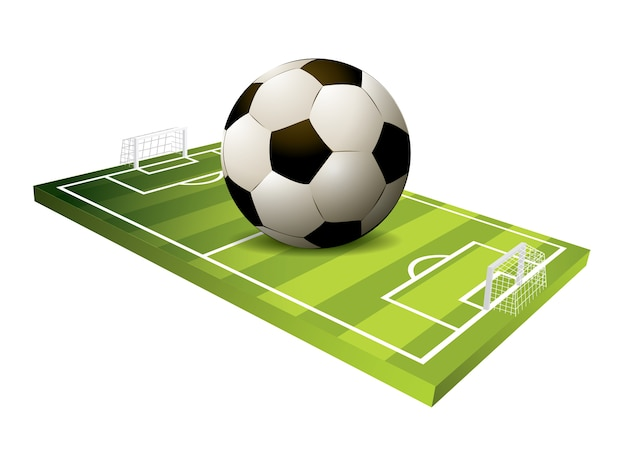 Fußballfeld des fußballs 3d