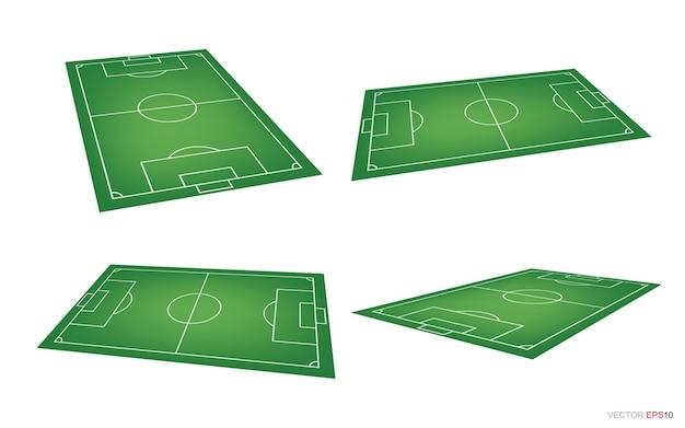 Fußballfeld oder fußballfeldhintergrund lokalisiert auf weiß