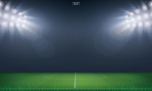 Fußballfeld oder fußballfeldstadionhintergrund