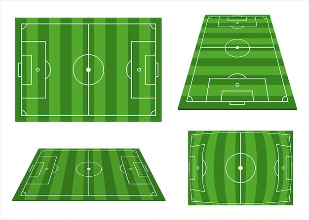 Fußballfeld-set-design-illustration lokalisiert auf weißem hintergrund