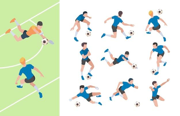 Fußballfiguren. isometrische leichtathletik-personen-fußballspieler, die auf feld 3d leute sprinten.