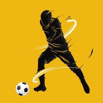 Fußballfußball, der dunkles flammenschattenbild aufwirft