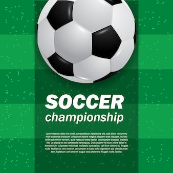 Fußballfußball des balls 3d auf dem draufsichtfußball des grünen feldstadions