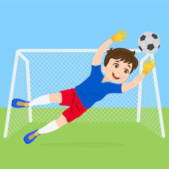 Fußballfußball-tormannwächter, der ein ziel speichert