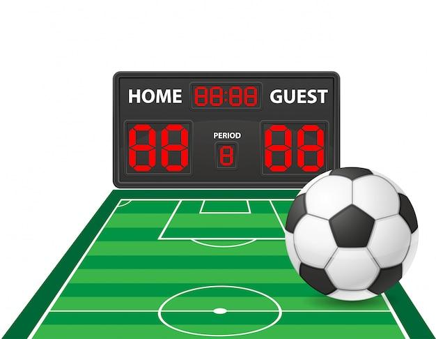 Fußballfußball trägt digitale anzeigetafel-vektorillustration zur schau