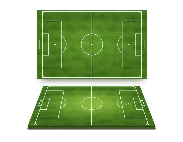 Fußballfußballfeldsammlung oben und perspektivische ansicht lokalisiert auf weißem hintergrund