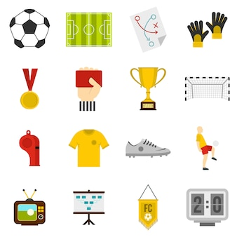 Fußballfußballikonen eingestellt in flache art