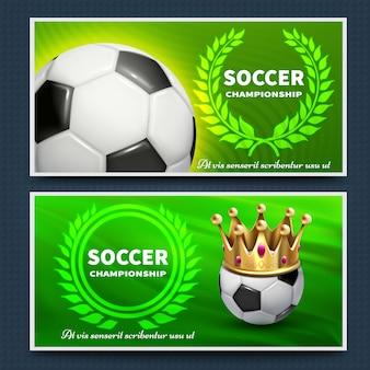 Fußballfußballliga-vektoransagenposter eingestellt. fußballspielplakatturnier, meisterschaftsfahnenillustration