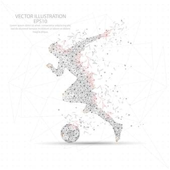 Fußballfußballspieler digital gezogener niedriger polydreieckdrahtrahmen.