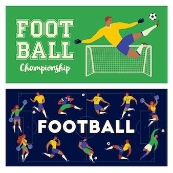 Fußballfußballspielersatz charaktere