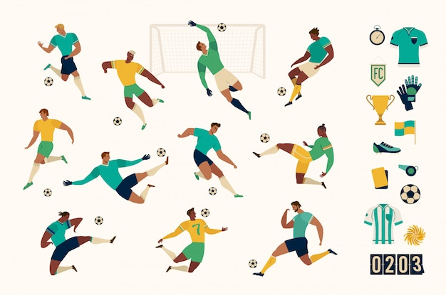 Fußballfußballspielersatz lokalisierte charaktere und moderner satz fußball- und fußballikonen. illustration.