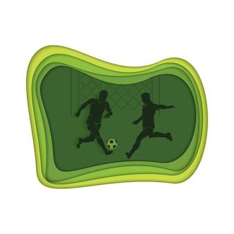 Fußballhintergrund mit fußballspielern, die den ball schlagen.