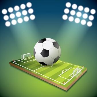 Fußballkugel auf dem feld des stadions mit licht