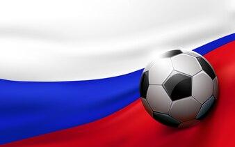 Fußballkugel auf Hintergrund der russischen Flagge