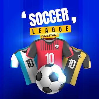 Fußballliga-rückkehr mit blauem hintergrund