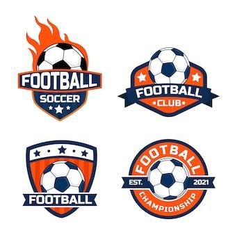 Fußballlogokonzept mit kräftigen farben, geeignet für fußball- und fußballlogos