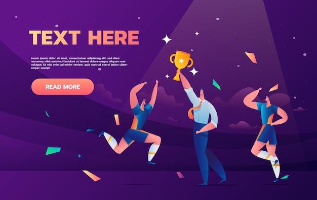 Fußballmanager und team mit champion cup landing page