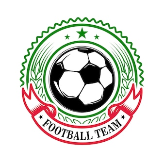 Fußballmannschaft. emblemschablone mit fußball. element für logo, etikett, zeichen, abzeichen. illustration