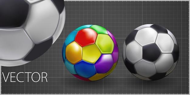 Fußballmeisterschaft design-banner. illustrationsfahne mit logo realistischer fußball lokalisiert auf grauem hintergrund. schwarzer und weißer klassischer lederfußballball