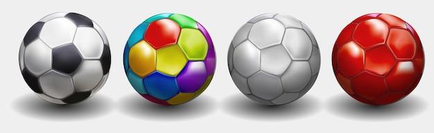 Fußballmeisterschaft design-banner. illustrationsfahne mit logo realistischer fußball lokalisiert auf weißem hintergrund. schwarzer und weißer klassischer lederfußballball