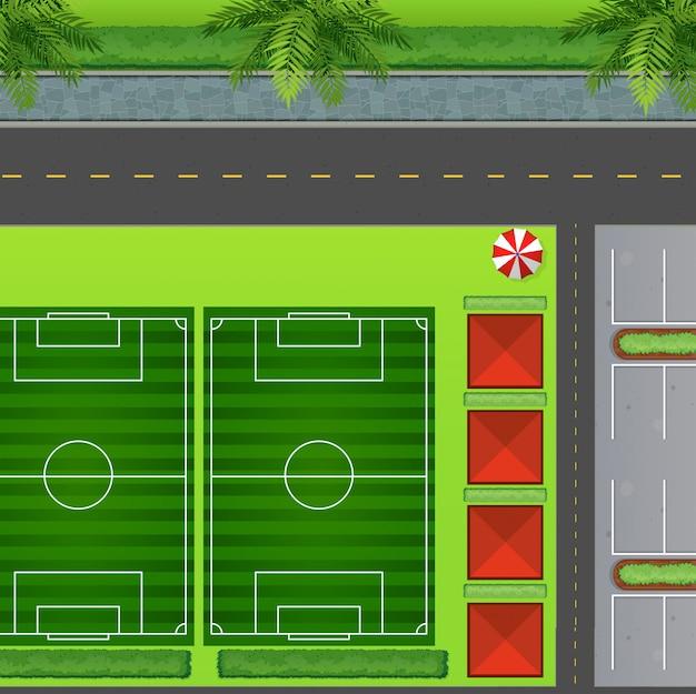 Fußballplätze am parkplatz