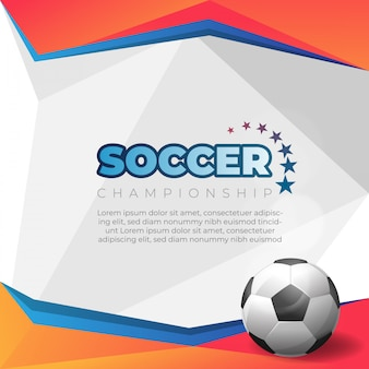 Fußballplakat auf orange hintergrund mit ball