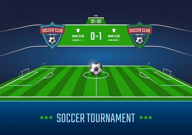 Fußballplatz in der horizontalen perspektive mit anzeigetafelillustration