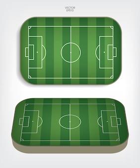 Fußballplatz oder fußballplatzhintergrund. grüner rasenplatz zum erstellen eines fußballspiels. vektor-illustration.