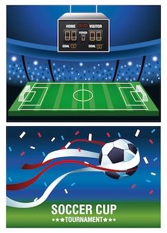 Fußballpokal-turnierplakat mit ballon- und anzeigetafelvektorillustrationsentwurf