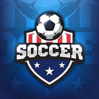 Fußballprofi-logo im flachen stil, fußball und schild mit sternen. sport spiele.