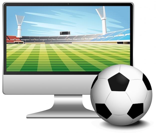 Fußballspiel-ergebnisnachrichten auf computerbildschirm mit fußball