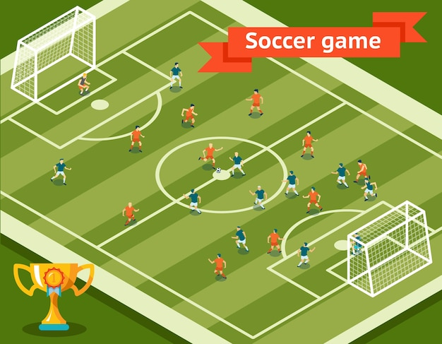 Fußballspiel. fußballplatz und spieler. wettbewerb und ziel, sport und team. vektorillustration