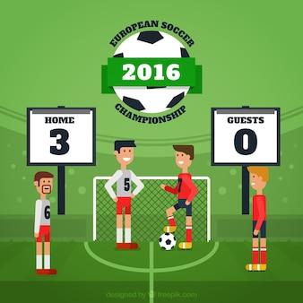 Fußballspiel hintergrund in flaches design