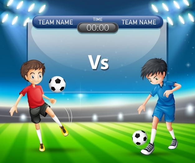 Fußballspiel mit spielerkonzept