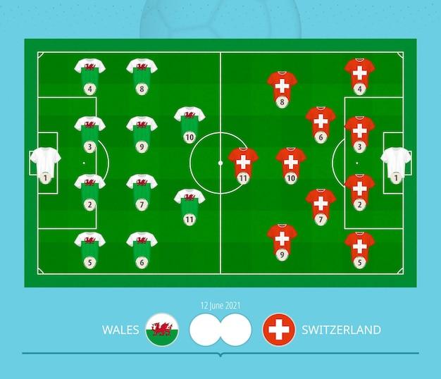 Fußballspiel wales gegen schweiz, mannschaften bevorzugtes aufstellungssystem auf dem fußballplatz.