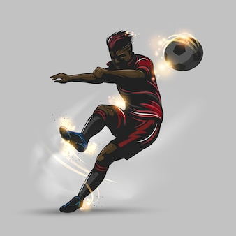 Fußballspieler bekommt einen freistoß