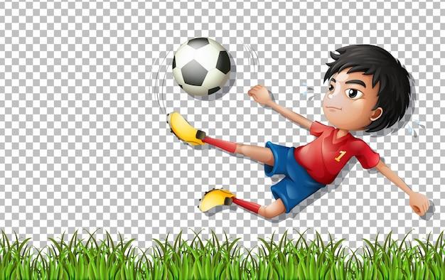 Fußballspieler-cartoon-figur auf transparentem hintergrund