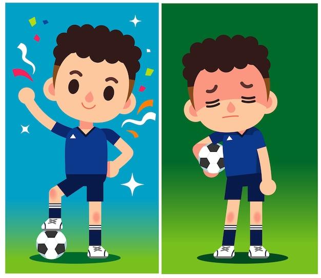 Fußballspieler charaktere gewinnen und verlieren.