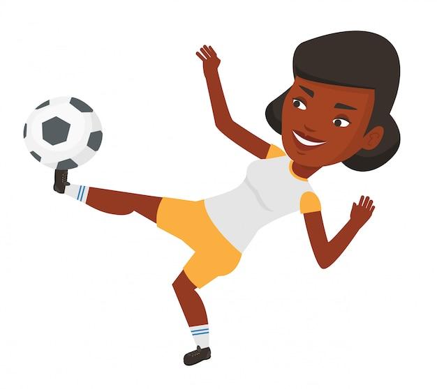 Fußballspieler, der ballvektorillustration tritt.
