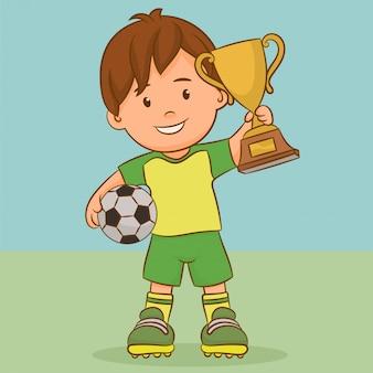 Fußballspieler, der eine goldene schale hält