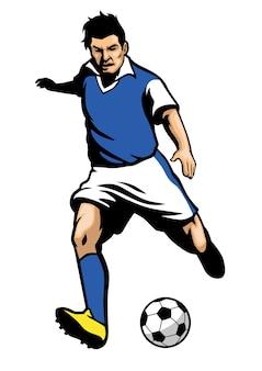 Fußballspieler, der einen ball schießt