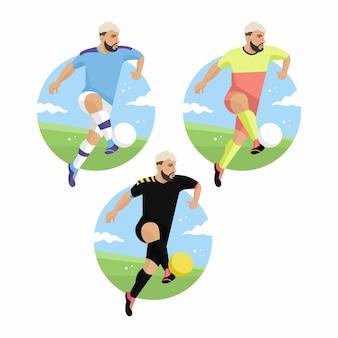 Fußballspieler flache abbildung
