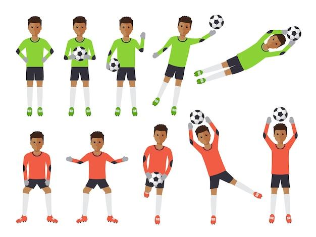 Fußballspieler, fußballtorhüter in aktionen.