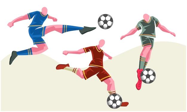 Fußballspieler in verschiedenen posen 3er-set. skalierbare und bearbeitbare illustration