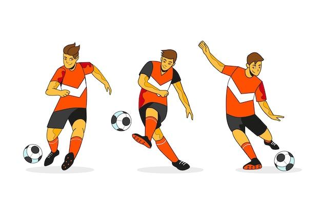 Fußballspieler-pack im flachen design