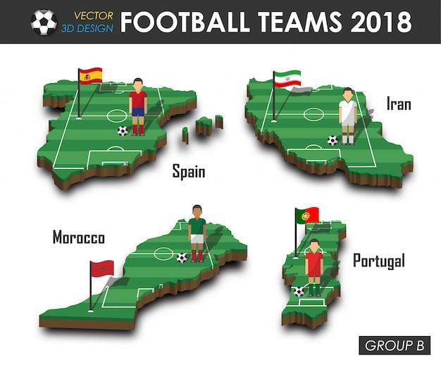 Fußballspieler und flagge auf landkarte des designs 3d.